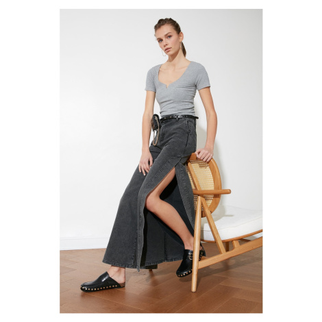 Trendyol High Waist Wide Leg Jeans WITH Anthracite Sliver