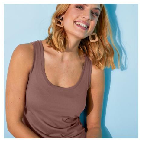 Blancheporte Top ze 100% bavlny, sada 2 ks kaštanová+růžová