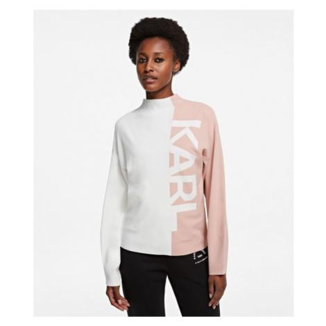Svetr Karl Lagerfeld Puffy Sleeve Sweater W/ Logo - Růžová