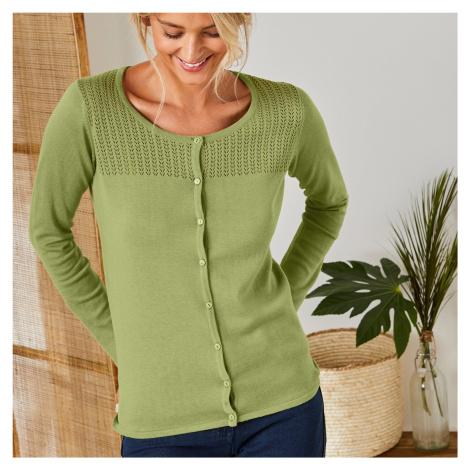 Blancheporte Kardigan s pleteným vzorem zelená