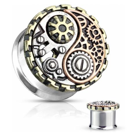 Ocelový plug do ucha s černou patinou - symbol jin a jang - Tloušťka : 8 mm Šperky eshop