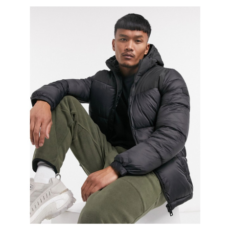 Jack & Jones Originals puffer with hood in black