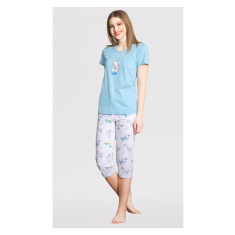 Dámské kapri pyžamo Vienetta Secret Jednorožec   modrá