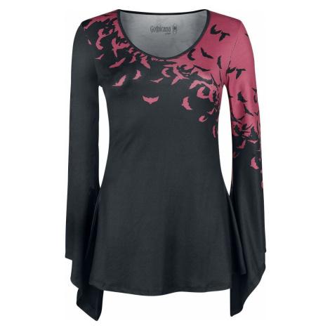 Gothicana by EMP Cierno/cervené tricko s dlhými rozšírenými rukávmi Dámské tričko s dlouhými ruk