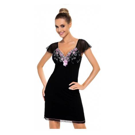 Luxusní dámská košilka s výšivkou Regina černá Donna