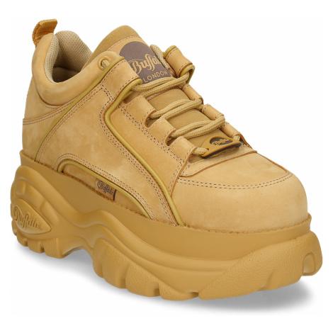 žluto-hnědá dámská kožená obuv na vysoké podešvi Buffalo