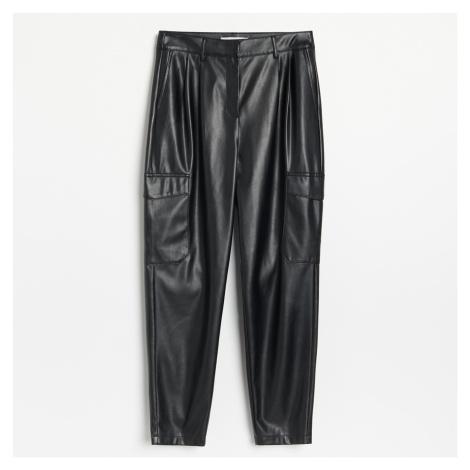 Reserved - Koženkové cargo kalhoty - Černý