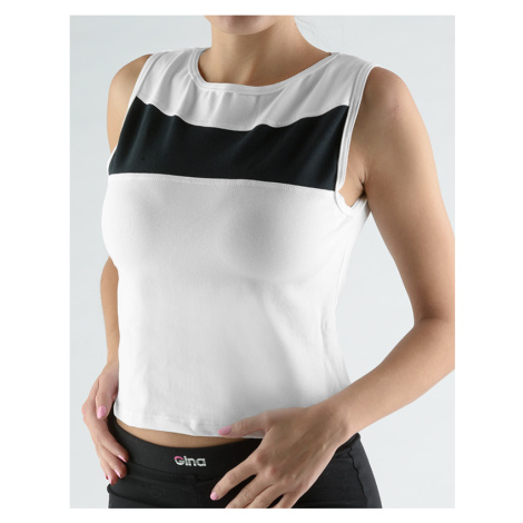 GINA Tričko krátké bez rukávů s lodičkovým výstřihem 98031-MxBMxC Bílá-černá
