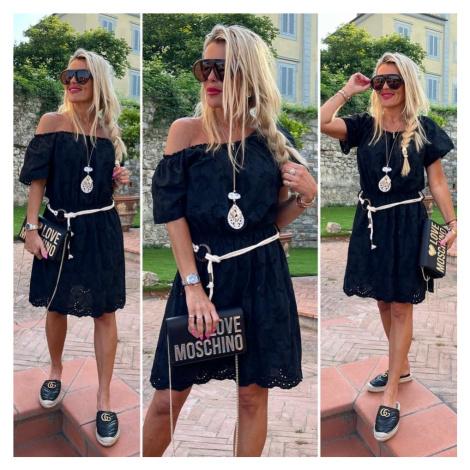 boho Šaty krajka s páskem Barva: Černá