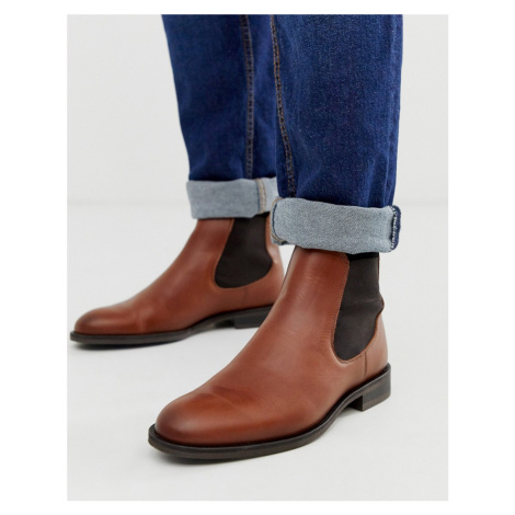 Selected Homme leather chelsea boots in tan-Brown