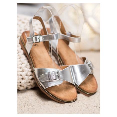 Luxusní šedo-stříbrné dámské  sandály bez podpatku SMALL SWAN