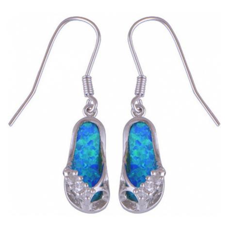 AutorskeSperky.com - Stříbrné naušnice žabky s modrým opálem - S1300