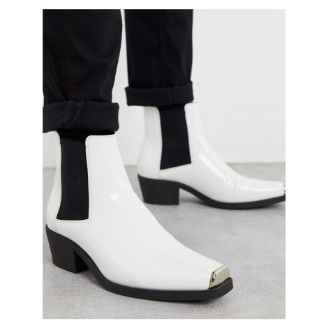 ASOS DESIGN cuban heel western chelsea boots in white patent with metal hardware