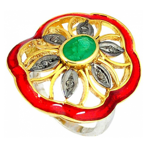 AutorskeSperky.com - Stříbrný prsten se smaragdem a diamanty 0.15 kt - S3030
