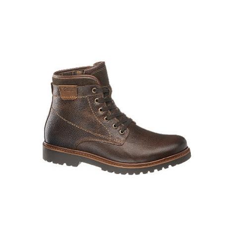 Tmavě hnědá komfortní kožená kotníková obuv Gallus