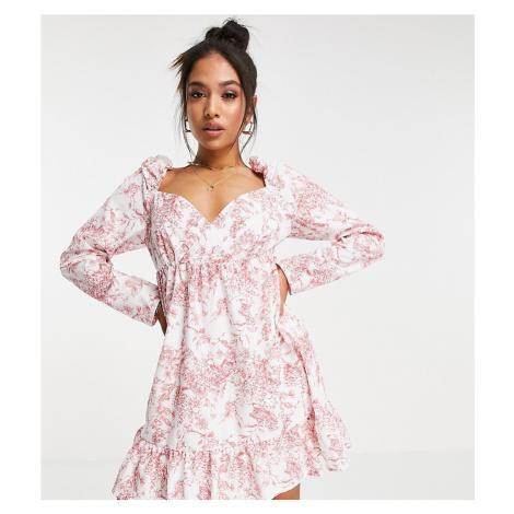 Missguided Petite mini wrap dress with frill hem in pink print