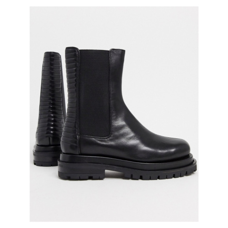 ASOS DESIGN Antarctic premium leather pannellled chelsea boots in black