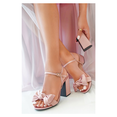 Starorůžové sandály s vyměnitelnými podpatky Lucky Bride Coral + hrubý podpatek 10 cm