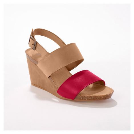 Blancheporte Kožené sandály na klínovém podpatku, přírodní/ černé přírodní