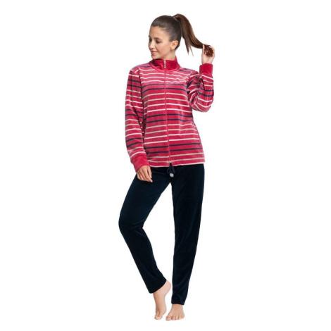 Dámské velurové pyžamo Bristol růžové s pruhy Luna
