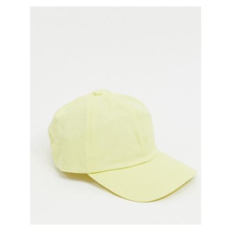 ASOS DESIGN vintage 6 panel soft baseball cap in lemon-Yellow