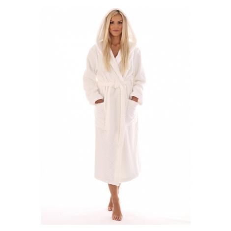 Vestis Athena bavlněný župan s kapucí bílý - Bílá