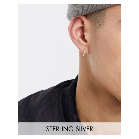 Serge DeNimes sterling silver gold plated hoop earring with twist engraving