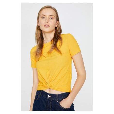Koton Women's Yellow Crew Neck Short Sleeve Gathered T-Shirt