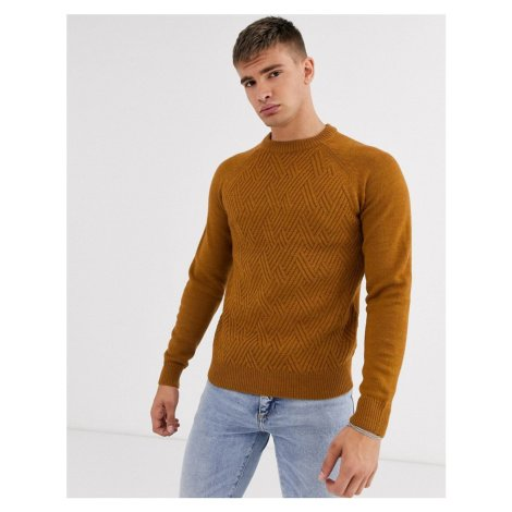 Burton Menswear cable knit yoke jumper in mustard-Yellow