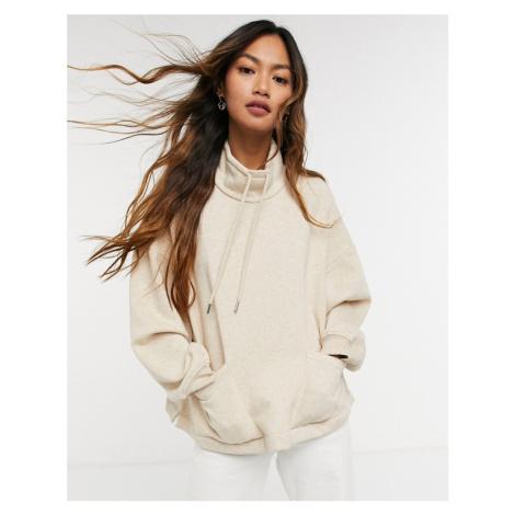 & Other Stories cotton high neck sweatshirt in light beige