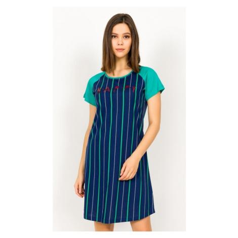 Dámská noční košile s krátkým rukávem Happy, XXL, tmavě modrá Vienetta Secret