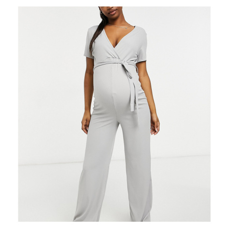 Missguided Maternity wide leg jumpsuit with wrap detail in grey