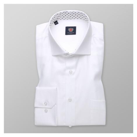 Pánská košile klasická bílá s hladkým vzorem 11398