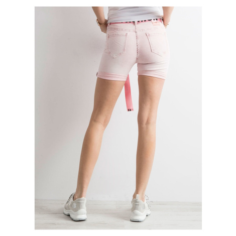 Pink denim bermuda shorts with a stripe with inscriptions Fashionhunters