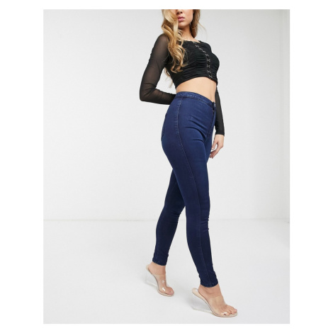 ASOS DESIGN Rivington high waisted power stretch denim jeggings in rich mid wash blue