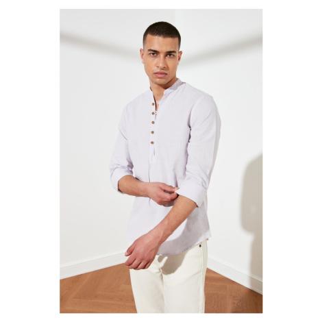Trendyol Lila Men Slim Fit Half-Pat ButtonEd Judge Collar New Shirt