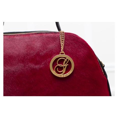 Dámská kožená kabelka se srstí 2 zipy - červená Glamorous