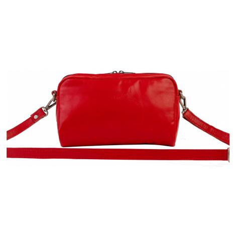 Bagind Mala Red - Dámská kožená crossbody kabelka červená, ruční výroba, český design
