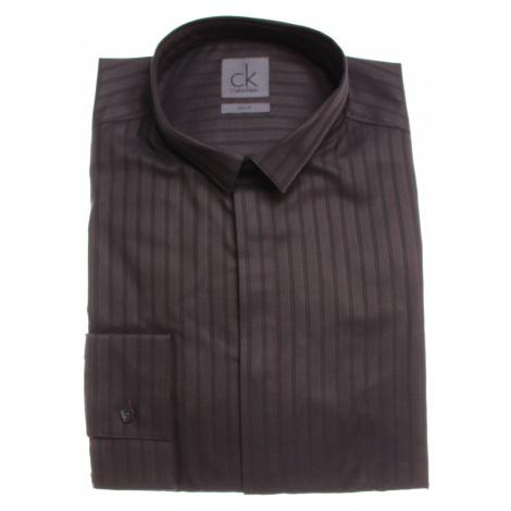 Calvin Klein pánská tmavě fialová košile s proužky