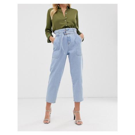 River Island paperbag waist jeans in light wash-Blue