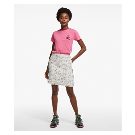 Sukně Karl Lagerfeld Boucle Skirt W/ Fringes - Bílá