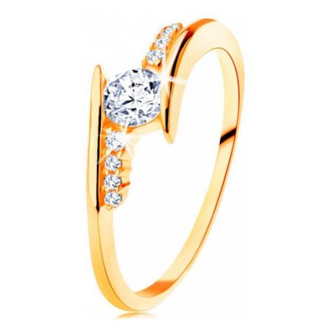 Prsten ve žlutém 14K zlatě - zahnutá ramena, čiré zirkonové linie, kulatý zirkon Šperky eshop