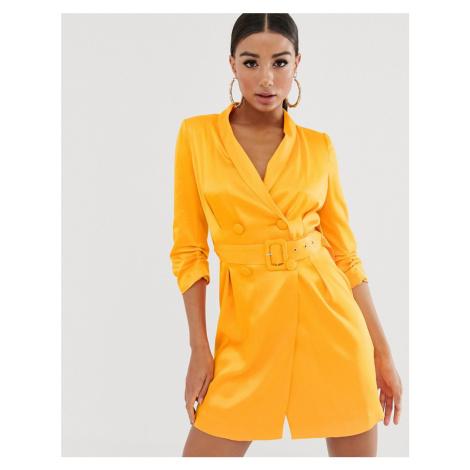 River Island belted blazer dress in satin orange