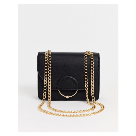 ASOS DESIGN ring and ball cross body bag with chain strap-Black
