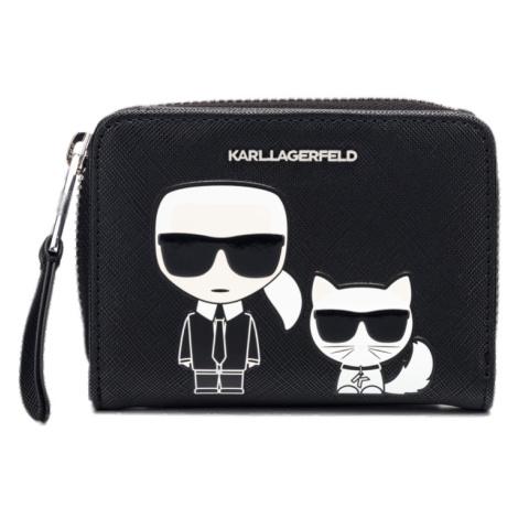 Černá kožená malá peněženka IKONIK KARL LAGERFELD