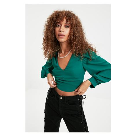 Trendyol Emerald Green V-Neck Blouse