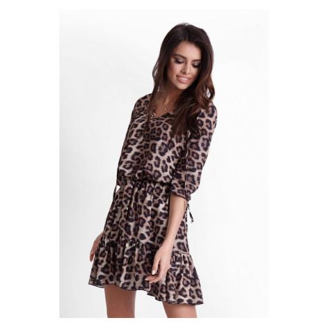Dámské šaty s volánkem a leopardím potiskem 248 IVON