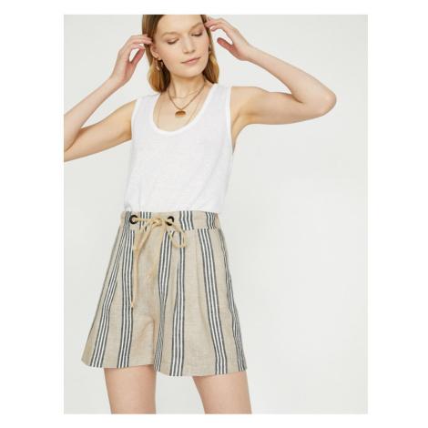 Koton Women Ecru Normal Waist Tie Waist Shorts