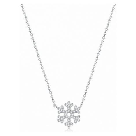 Linda's Jewelry Stříbrný náhrdelník se zirkony Vločka Ag 925/1000 INH067