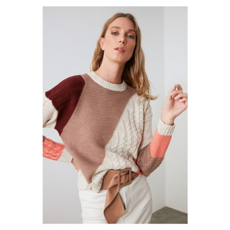 Trendyol Camel KnitTed Detailed Color Block Knitwear Sweater